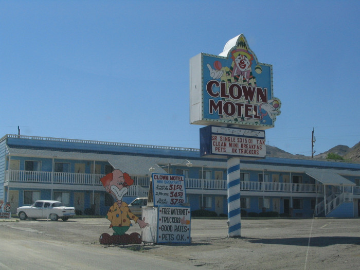 About midway between the cities of Reno and Las Vegas, is the sleepy desert town of Tonopah - home of the famous Clown Motel.