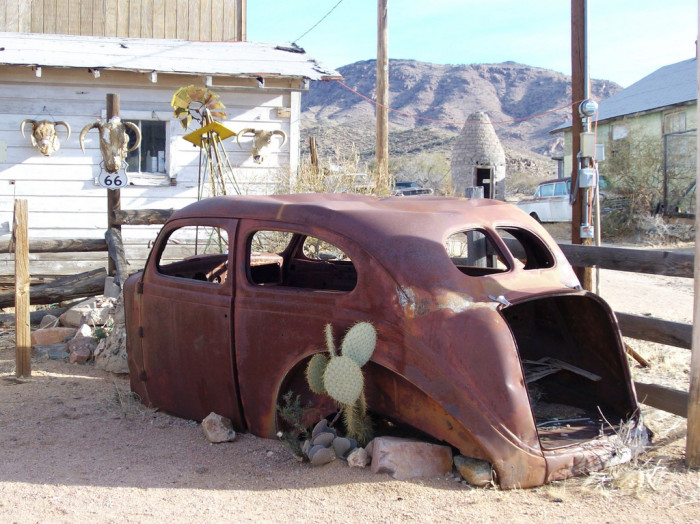 5. This rusty, old car outside the general store in Hackberry (about 30 minutes northeast of Kingman) has a cactus growing out of it.