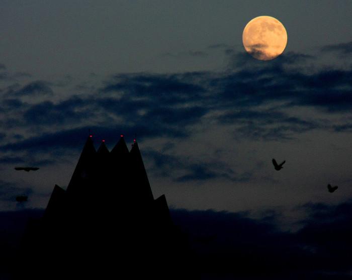 12) Haunting full moon over Lady Bird Lake in Austin.