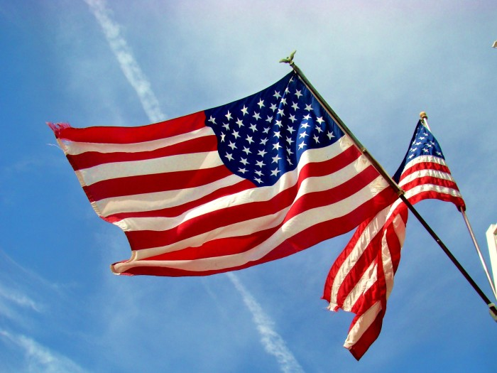3. An American flag proudly flying.