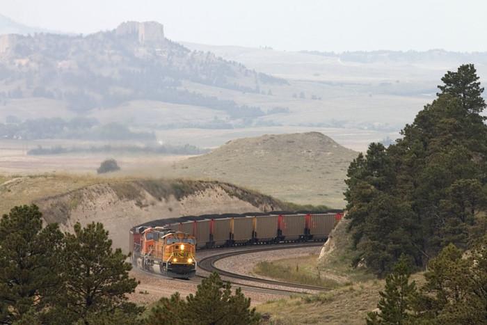 A Breathtaking Shot of a Train Crawling up Crawford Hill