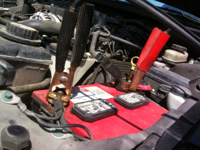 Jumper Cables and a Spare Tire Kit