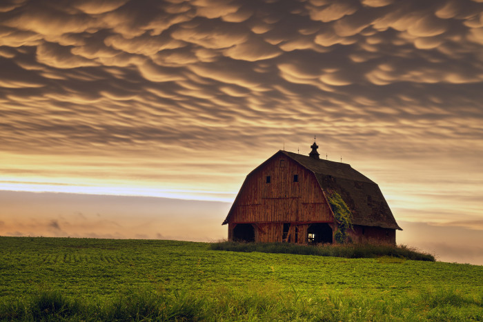 3. These unearthly but magical clouds over a barn in Linn County.