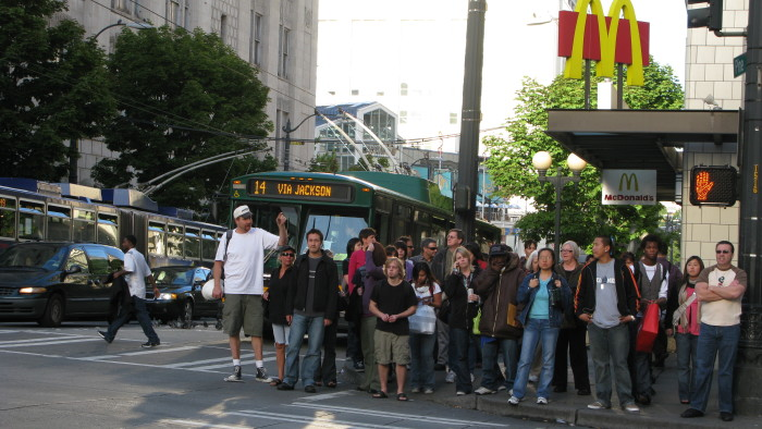 6. The intersection of 3rd Ave & Pike St. in downtown Seattle.