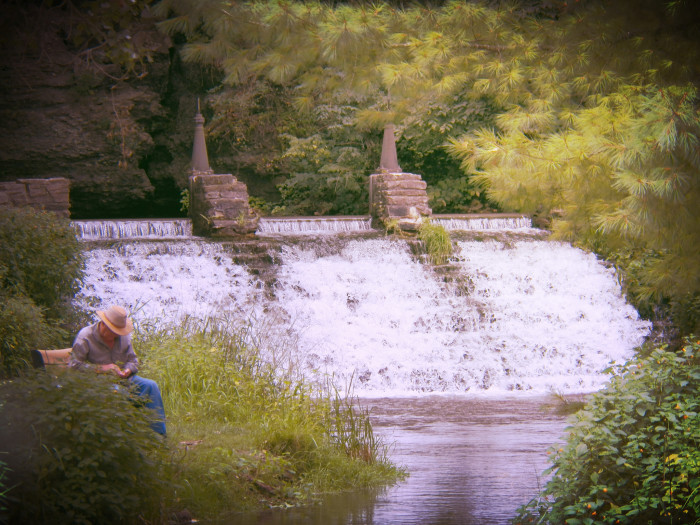 3. Sievers Spring waterfall at the fish hatchery, Decorah