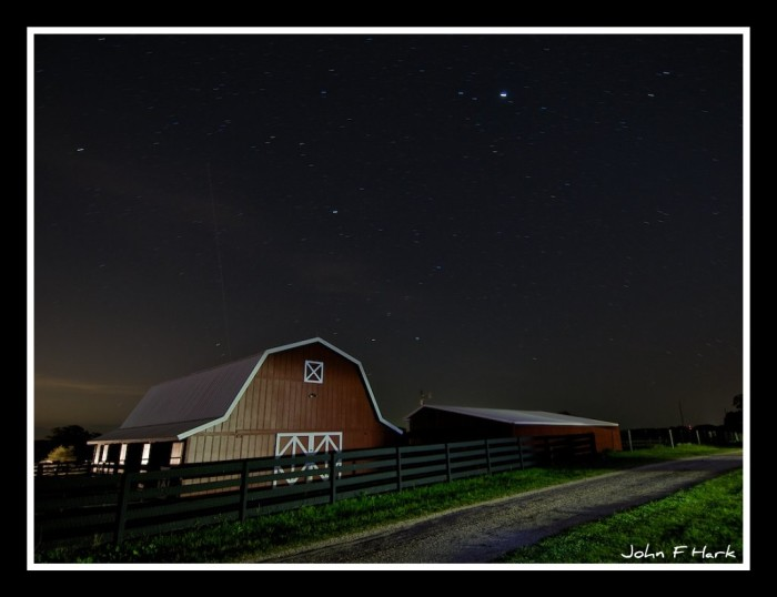 2) A starry night overlooks this beautiful barn in Brazos.