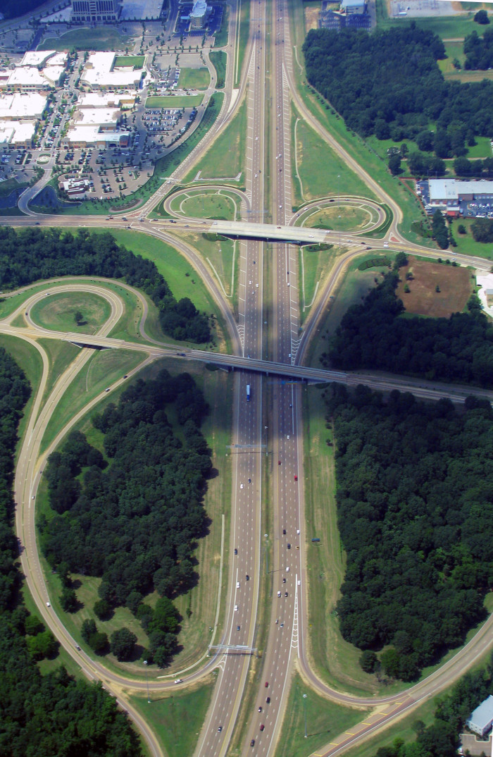 4. Shown here, the intersection of the Natchez Trace Parkway and Interstate 55 in Ridgeland from high in the sky.