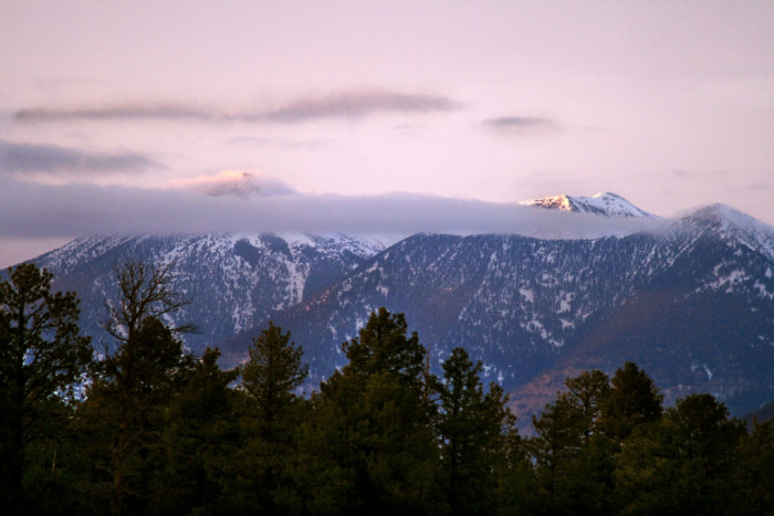 3. Here is a quiet morning view of the San Francisco Peaks from Marshall Lake.