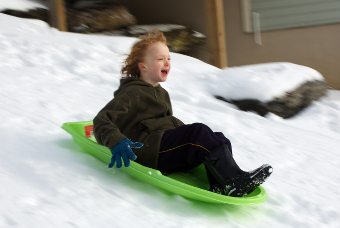 2) A sled and/or snow gear to brighten the long, dreary days when the relentless snow and winter weather come out to play.