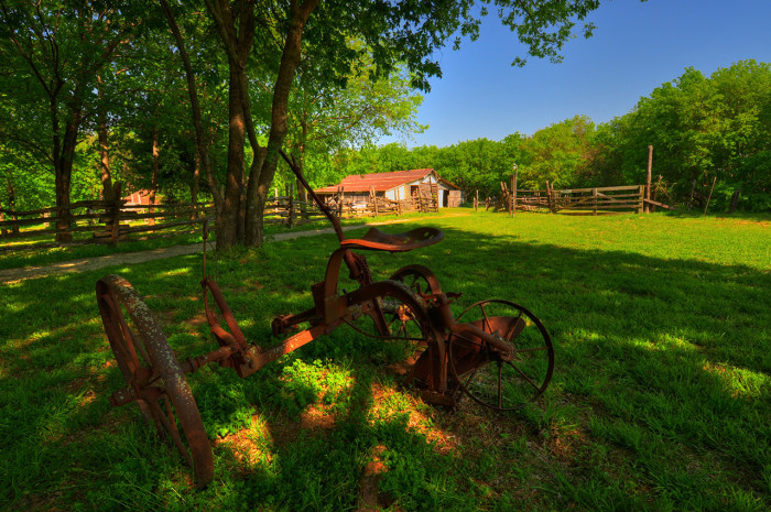 4) An old piece of farm equipment is on display at the Penn Farm at Cedar Hills State Park.