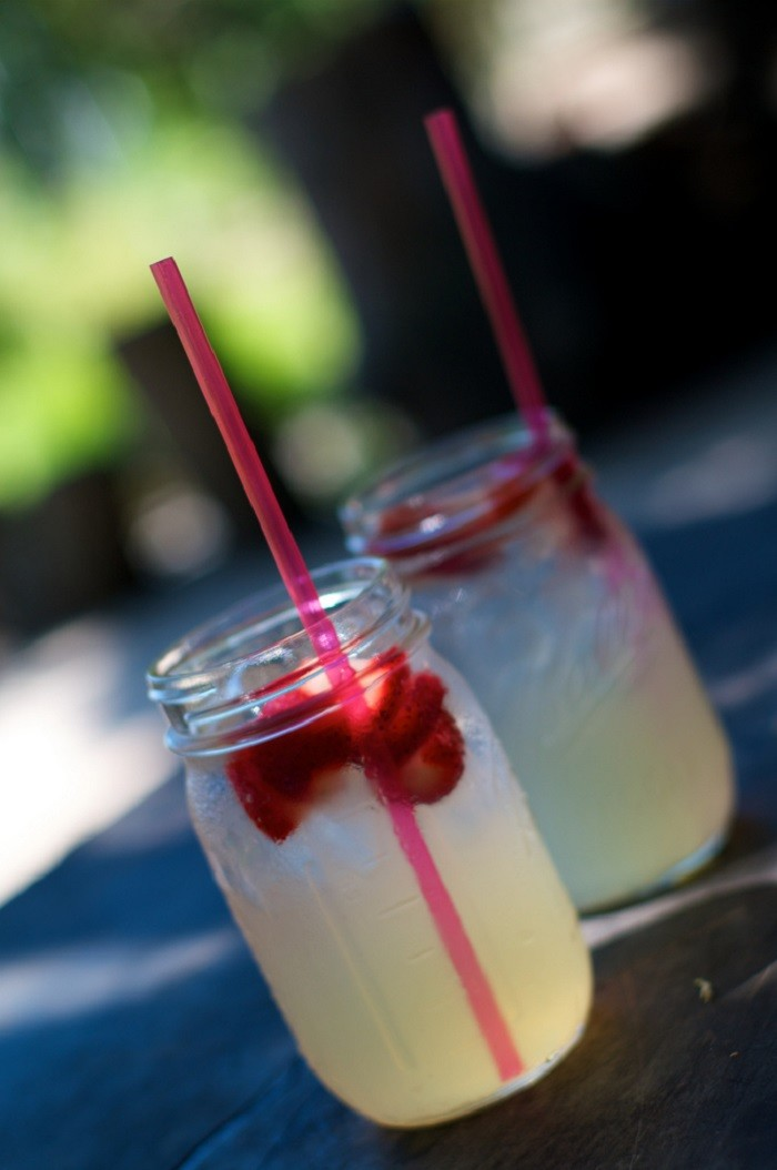 7. Drink a refreshing glass of strawberry lemonade while sitting on your front porch.