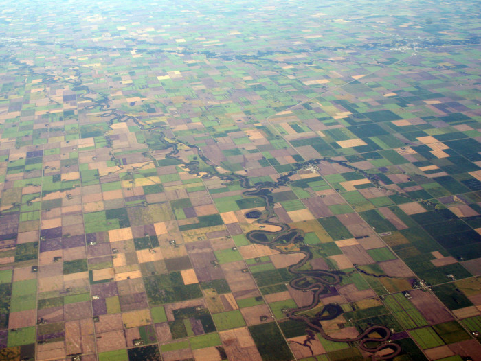 12. This aerial showcases the  Red River, on the North Dakota-Minnesota Border.