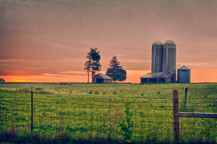 4. This simple family farm near Pleasant Hill enjoying a gorgeous Iowa sunset.
