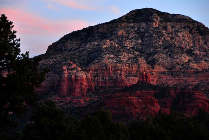 10. The sun's low angle makes the texture of the red rocks in Sedona stand out.