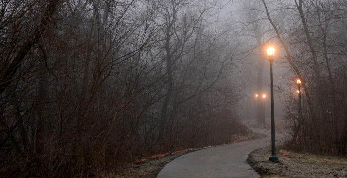 5. A morning fog shrouds the Muddy Creek trail in Coralville.