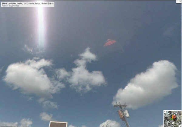 6) A pink UFO is spotted in Google Maps when a woman tried to get directions to Jacksonville, Texas.