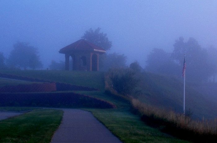 This ordinary gazebo in Kearney looks almost supernatural in the low light and fog.