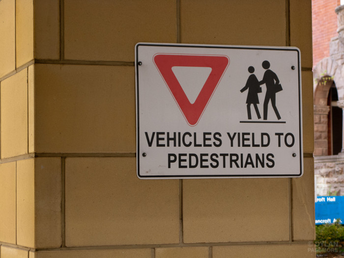 3) Drivers must yield to pedestrians who are on the sidewalk