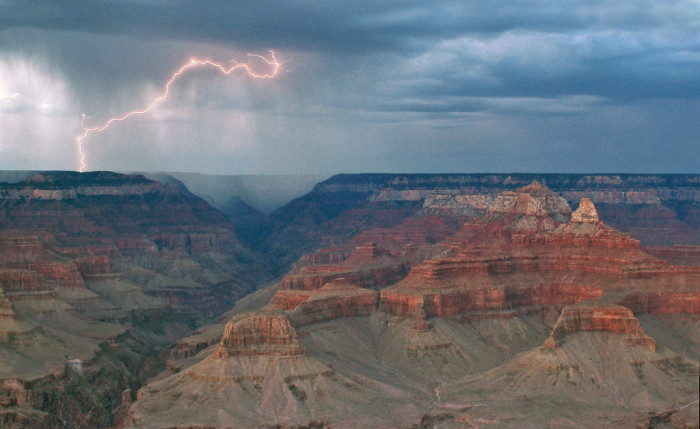11. Lightning strikes at the Grand Canyon.