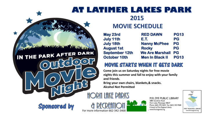 7. From May through October, take in a free movie under the stars at Latimer Lakes Park in Horn Lake.