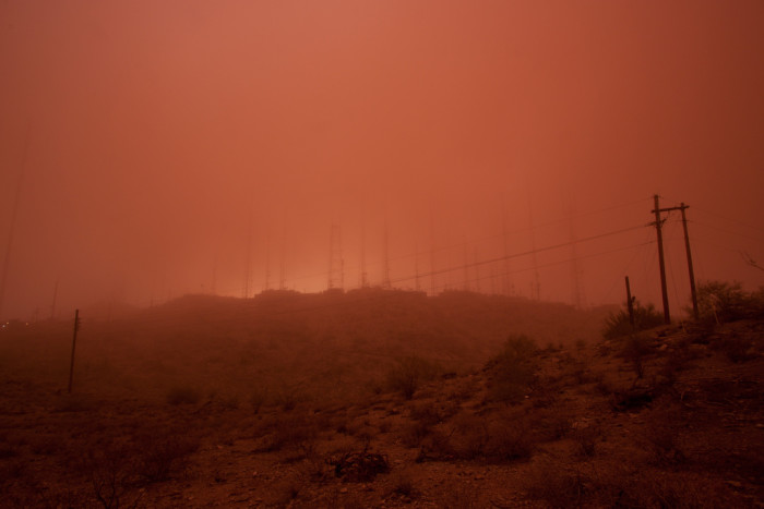 8. It's difficult to see South Mountain here in the middle of the storm.