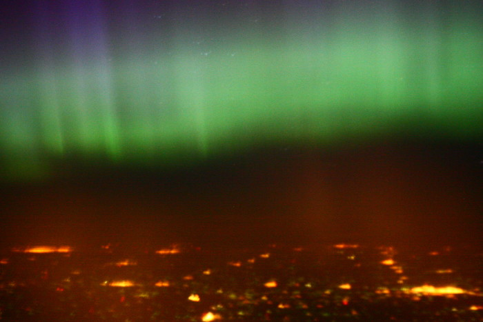 14. This lucky flier captured this amazing view of aurora over Duluth.
