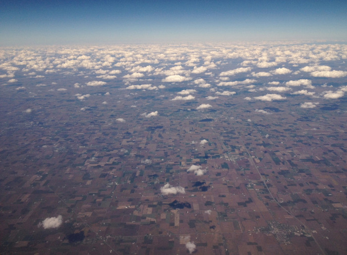 8. Beautiful aerial shot of what it looks like to fly into Indiana. I love the clouds captured in this picture!
