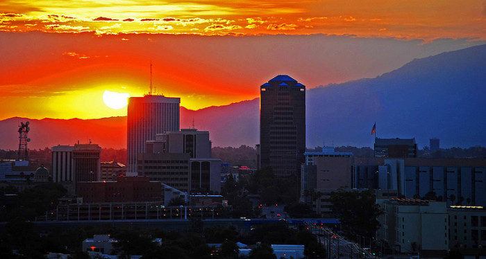 11. The Tucson skyline at sunrise has a beautiful color palette.