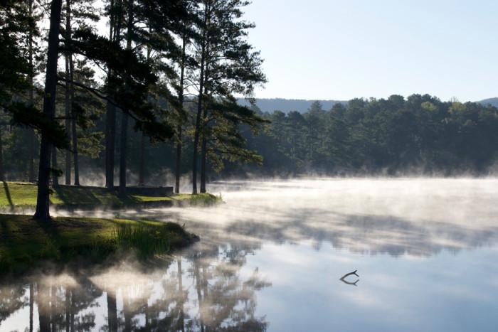 15) Mist on the lake in Rome, Georgia.