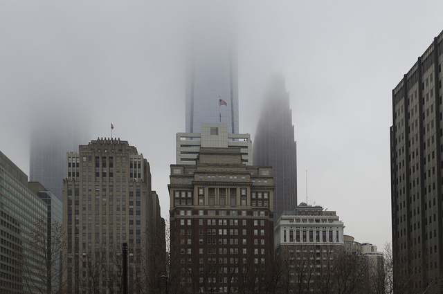 11. It's amazing how the Philadelphia skyscrapers just disappear into the fog.