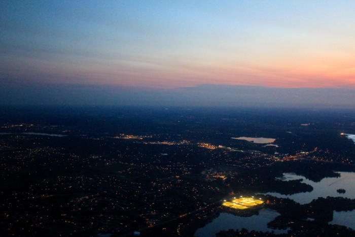 13. This sunset view captures the beauty of the metro area in the dark.