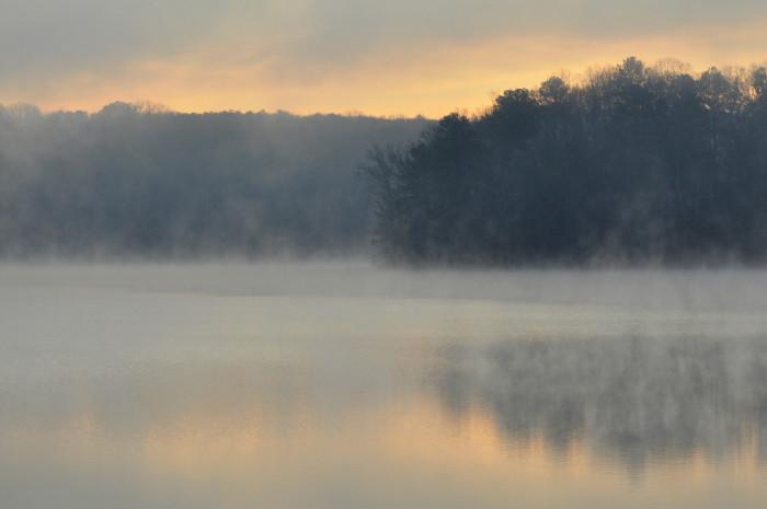 5) Fog on the lake in Douglas County seems mystical.