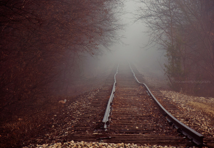 10) The train track leading to nowhere on a cold, foggy morning.