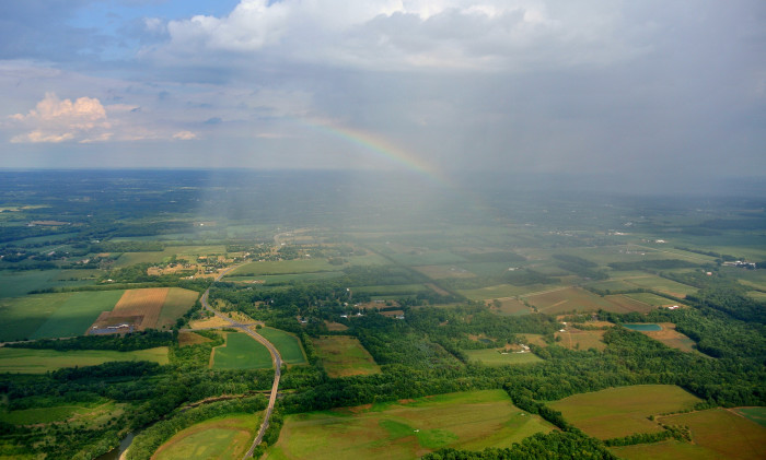 16) Rainbow over farmland near Dayton