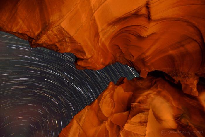 3. Star trails at Antelope Canyon.
