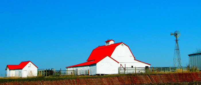 Brightly Colored Buildings on a Farm in Nebraska City