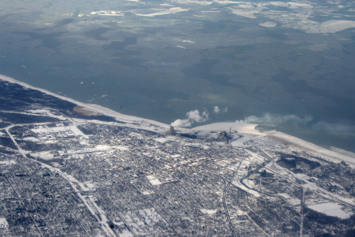 9. This is an aerial shot of Michigan City focusing on the coal power plant.