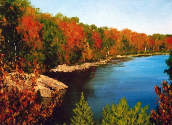 10. A painting or photo of Minnesota, most likely of a lake.