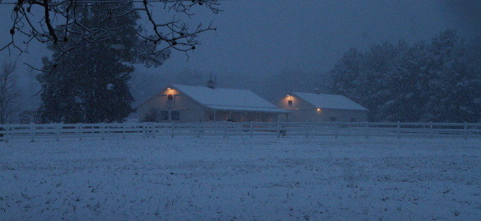 9. A rare sight in Mississippi, this snow covered farm couldn't look any more perfect.