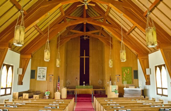 1. The beautiful sanctuary inside Wilmington Lutheran Church in Arnegard, North Dakota.
