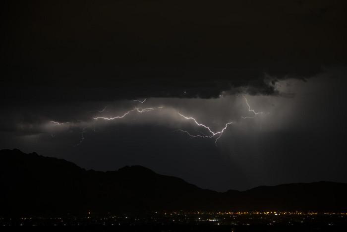 13. Lightning jumps horizontally across the sky in Tucson.
