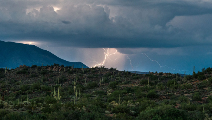 12. Lightning strikes near the Superstition Mountains.