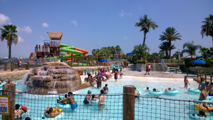 9) Treat the fam to a stay at a nice hotel like Moody Gardens, which has a huge area called Palm Springs to cool off in!