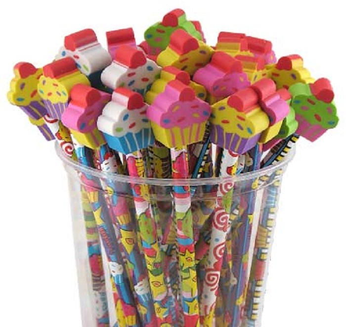 6. Colorful Pencils with Eraser Toppers