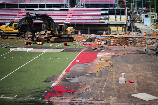Since the stadium was under construction at the time, no one was actually on the field. That would've been a nightmare.