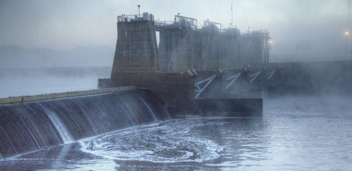 10) Columbia Lock & Dam in the Morning Fog