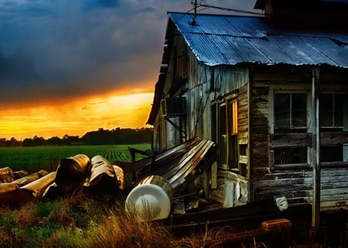 6) Stunning sunset on rural barn.