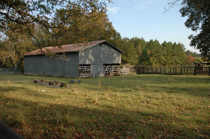 7) Blue barn with horse corral.