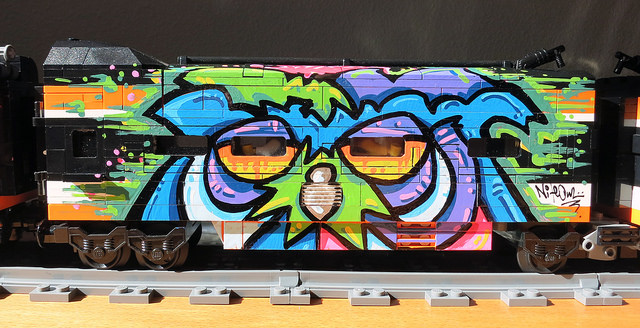9) Graffiti on a model train