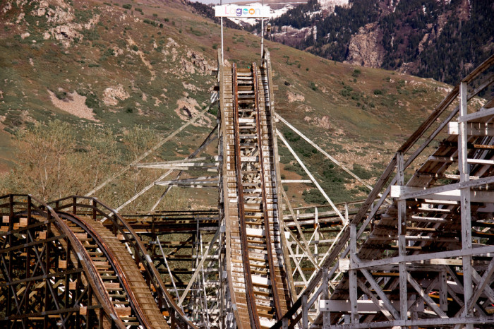 16) Riding the Wooden Roller Coaster at Lagoon